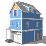 Plano de casa de tres pisos con una planta reducida