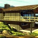 Plano de casa de montaña con terraza