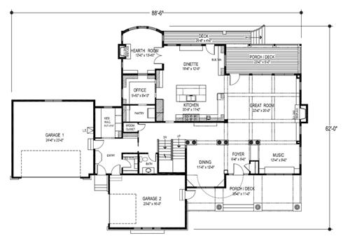 Plano de casa familiar de lujo planta baja