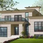 Plano de casa moderna familiar con 4 habitaciones