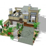 Plano de casa moderna de 2 plantas y 3 habitaciones