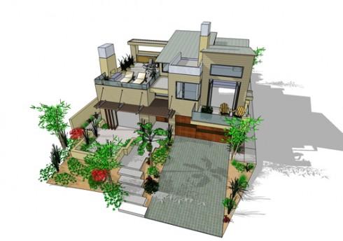 casa moderna de dos plantas