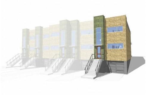 Plano de casa moderna con garaje doble