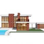plano casa contemporanea, estilo retro