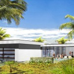 Plano de casa de vacaciones moderna con garage