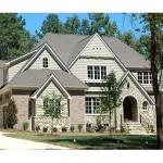 Plano de casa europea de madera y piedra