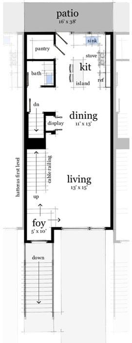 plano de casa moderna con garaje doble planta