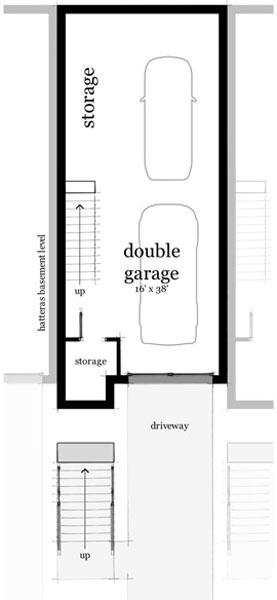 plano de casa moderna con garaje doble sotano