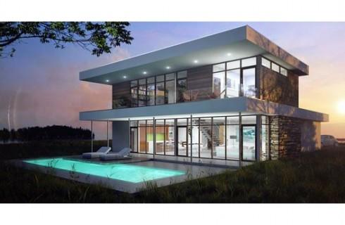 Plano casa moderna, 2 niveles