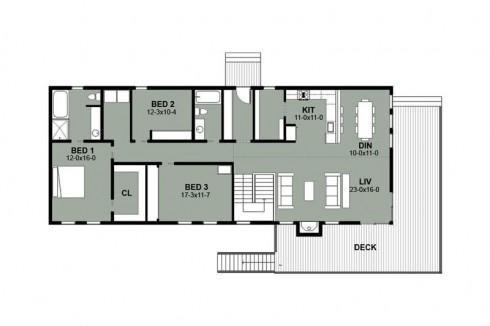 plano de casa con entrada superior