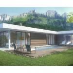 Plano de casa moderna con piscina y garage
